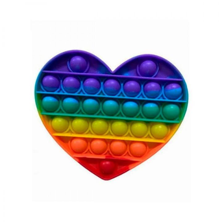 Мягкая игрушка разноцветная Поп ит Бесконечная пупырка антистресс Pop It Сердце