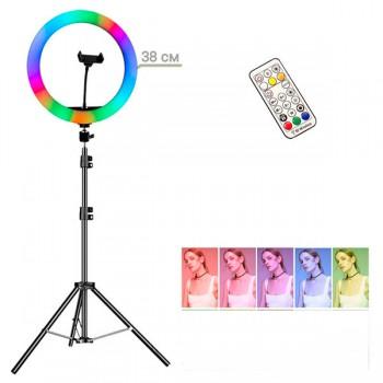 Кольцевая LED лампа 2 в1 RGB +Белый свет MJ38+штатив
