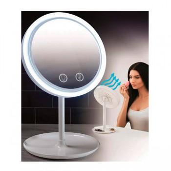 Настольное зеркало NuBrilliance Beauty Breeze Mirror с подсветкой и встроенным вентилятором