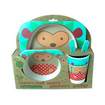 Набор детской посуды из бамбукового волокна на 5 приборов ежик