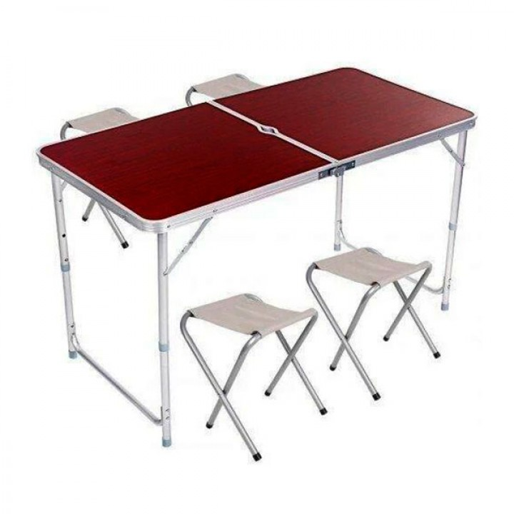 Походный Стол с набором из 4-х стульев, раскладной, телескопический, 120*60 см