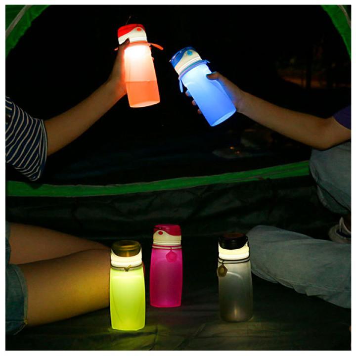 Складная силиконовая спортивная бутылка для воды с фонариком