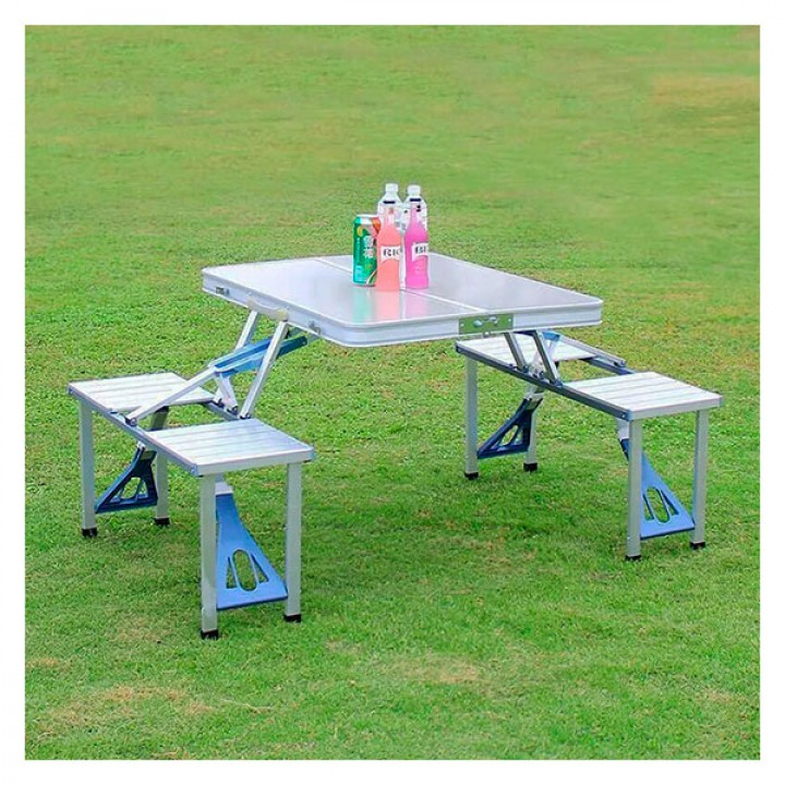 Походный Стол усиленный с набором из 4-х стульев раскладной