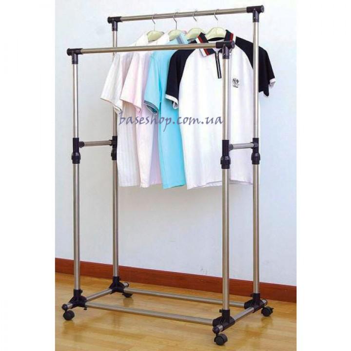 Телескопическая вешалка стойка для одежды и обуви Double Pole Clothes Horse