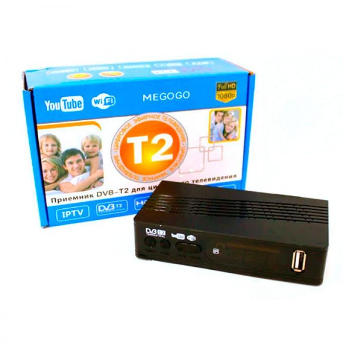 Тюнер T2 DVB Megogo, цифровой ресивер METAL с поддержкой wifi адаптера