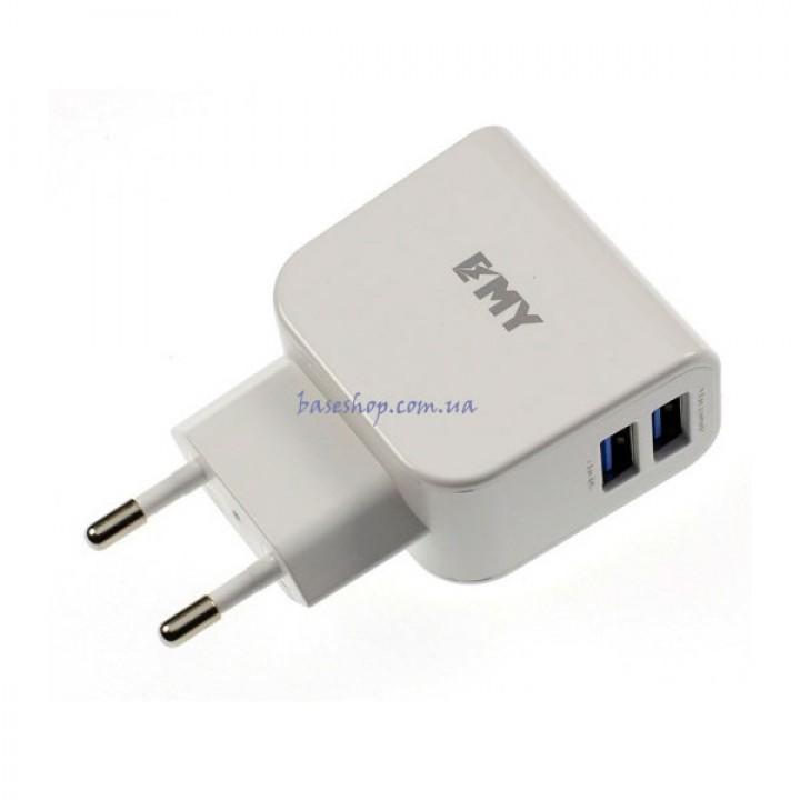 Сетевое зарядное устройство Emy MY-256 с кабелем Micro USB